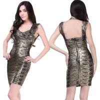 Quality Wholesale/retail high elastic sexy ladies bronzing backless short tight cocktail dress for sale
