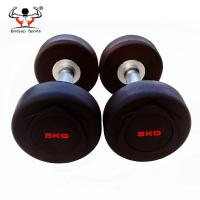 China Rubber Coated Fitness Equipment Dumbbells With Maximum Grip Knurled Handle on sale