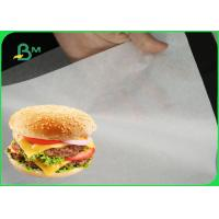 China 35gsm White Greaseproof Paper Roll / Natural Food Wrapping Paper For Burger Wrapping on sale