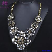Quality Silver Clear Crystal Flower Chocker Chunky Statement Bib Collar Necklace for sale