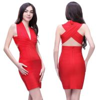 Quality 2014 new arrival ladies red crisscross bust backless short evening bandage dress for sale