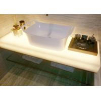 Quality Glossy Milky White Jade Stone Countertops / Eco Recycled Glass Countertops for sale