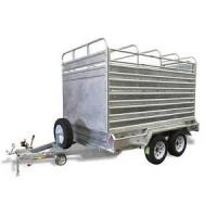 Galvanized Stock Crate 9x5 Tandem Trailer With Cage For Cattle Transport