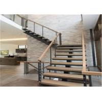 Quality Contemporary Wooden Treads Straight Staircase Prefabricated Stairs for sale