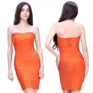 Quality latest fashion orange strapless short bodycon bandage bridesmaid dress for sale