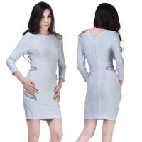 Quality wedding wear exclusive cut out crystal long sleeve short bandage bridesmaid dress for sale