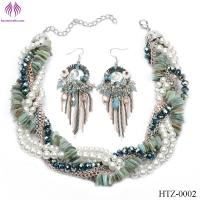 Quality Exaggerated fashion jewelry big multicolored shell pearl necklace jewelry set for sale