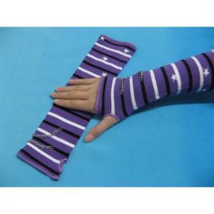 Quality Comfortable Cotton / Polyamide / Spandex Purple + White + Black Striped Ladies Arm Warmer Knit for sale