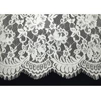 Quality Unique White Floral Chantilly Eyelash Embroidery Lace Trim For Black Maxi Dress With Soft Hand Feeling for sale