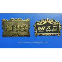 China Vintage style antique brass plated metal sign board name plates emblem plaques, zinc alloy on sale
