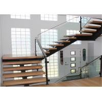 Quality Prefab wooden glass floating stairway straight staircase design for sale