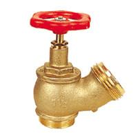 Quality Pipe Fitting Brass Oblique Fire Hydrant Valve With Red Round Handle for sale