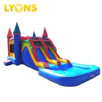 Quality Blue Red Combo Slide Pool Inflatable Bouncy Castle For Water Park 7*4*4m for sale
