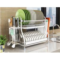 Quality Dish Drainer Drying Stainless Steel Storage Racks On Wheels With Cutlery Holder And Cup Holder for sale