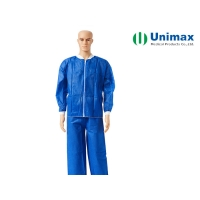 Quality Round Neck 40GSM Non Woven Lab Coat for sale