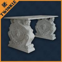 Quality Carved Marble Garden Ornaments / Exterior Outdoor Bench For Garden Decoration for sale