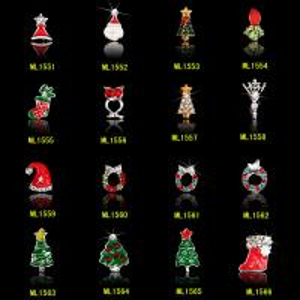 China 3D Christmas nail art decorations tools alloy jewelry nail glitter rhinestone ML1551-1566 on sale