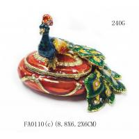China Fashion peacock shaped metal jewelry boxes peacock trinket box jewelry packing box on sale