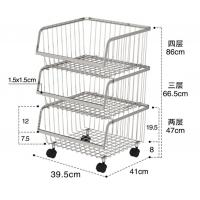 Quality Stackable Rolling Steel Rack With Wheels , Metal Stainless Steel Kitchen Storage Shelves for sale