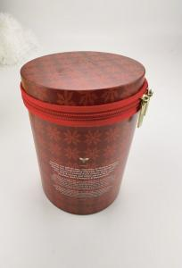 Quality EN71 Light Proof D130mm Cylinder Tin Box With Zipper Closure for sale