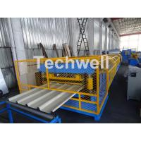 Quality Customized Trapezoidal Profile Roof Roll Forming Machine With Hydraulic Post Cutting Device for sale