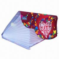 China Printed PP Expanding File Folder with Frisbee Buckle and Dividers, Eco-friendly on sale