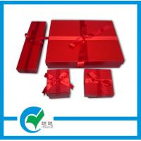 Quality Ladies Handmade Art Paper Red Gift Box with Ribbon for Necklace with UV Coating for sale