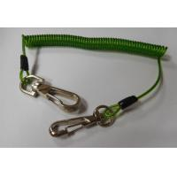 Quality OEM China factory produce charming heavy green PU coated bungee coil tool lanyard w/hooks for sale