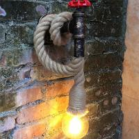 Quality Retro Industrial Wind Hemp Rope Wall Lamp Personality Iron Rust water pipe wall lamp (WH-VR-01) for sale