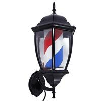 Quality Black Case Rotating Barber Pole Red White Blue Strips Vintage Style Indoor Outdoor for sale