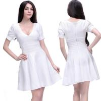 Quality Wholesale/retail simple design white short sleeve deep v short tight  party dresses for sale