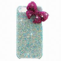 Quality Cellphone Case for iPhone 5, Diamante PC Case, Bowknot Design, Available in Various Colors for sale