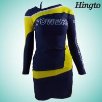 Quality Black And Gold Cheerleading Uniforms Long Sleeve Cheerleader Costume for sale