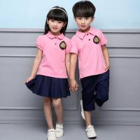 Quality Summer Cotton Fabric Kindergarten Primary School Uniform / Kid Pink Polo Shirts for sale