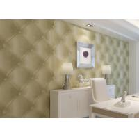 Creamy White Leather Wallpaper , Removable Modern Vinyl Wallpaper PVC
