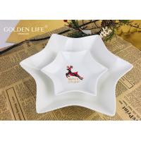 Quality Porcelain Hexagon plate with grid elk  X`mas design Dinner Plate Household Breakfast Snack Dishes Plate for sale