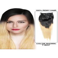 Buy Soft Smooth Full Head Colored Human Hair Extensions 12 - 30 Inch Straight Remy Hair Weave at wholesale prices