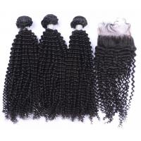 Quality 8A 9A 100% Unprocessed Virgin Kinky Curly Hair Bundles With Lace Closure for sale