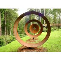 Quality Laser Cut Rusty Outdoor Corten Steel Sculpture For Garden Decoration Circle Shape for sale