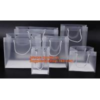 Quality plastic clear heat seal square bottom pp bag with plastic handle,gift bag transparent shopping handle bag bagease pac for sale