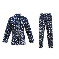 Quality 100% Cotton Flannel Womens Button Up Pajama Sets With Piping And Long Pants for sale