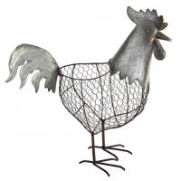 Quality Metal Chicken Wire Decorative Standing Provence Rooster Basket 18 Inch for sale