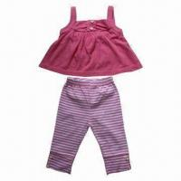 China Babies' Clothing Set, made of 95% cotton, 5% elastane signle jersey with AOP, yellow/pink color on sale