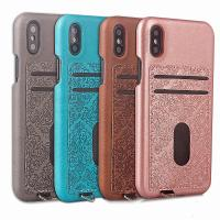 Quality ID Credit Card Slot Embossed Leather Back Phone Case For Iphone X,For iPhone X back case cover with card holders for sale