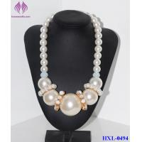 Quality Fashion Luxury Chain Big Pearl Cluster Chunky Choker Bib Statement Necklace for sale