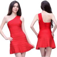 Quality Delicate tailoring sexy red one shoulder short tight party bandage dress for sale
