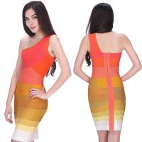 Quality 2014 ladies one shoulder orange ombre zipper and skintight bandage dress for sale