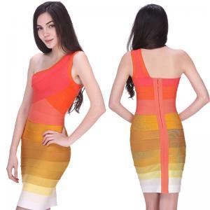 Quality Newest cultivate elegant one shoulder orange ombre short tight bandage dress for sale