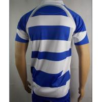 Quality Mens Blue And White Rugby Shirt  Rugby Training Wear 100% Polyester Fabric for sale