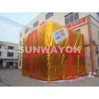 OEM Golden Inflatable Advertising Gift Box Model For Parties